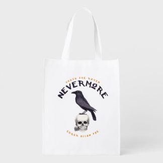 Quoth the Raven Nevermore - Edgar Allan Poe Reusable Grocery Bag