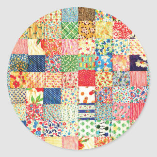 QWL Patchwork Quilt COLORFUL PATTERN BACKGROUND HO Classic Round Sticker