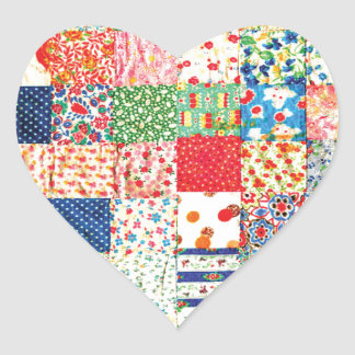 QWL Patchwork Quilt COLORFUL PATTERN BACKGROUND HO Heart Sticker