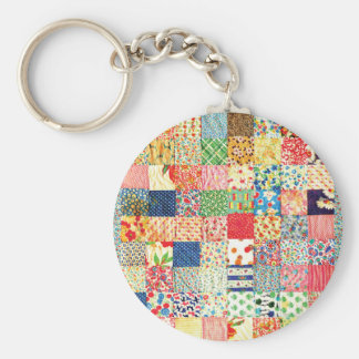 QWL Patchwork Quilt COLORFUL PATTERN BACKGROUND HO Key Chains