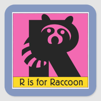 R Is For Raccoon Animal Alphabet for Kids Square Sticker