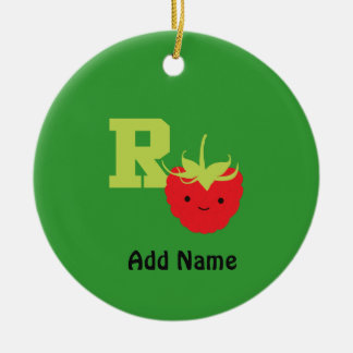R is for Raspberry Round Ceramic Ornament
