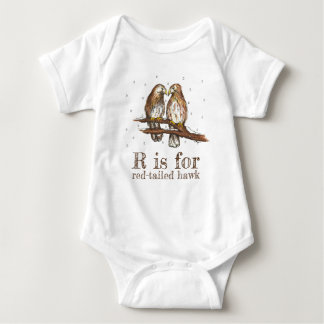 R is for Red-Tailed Hawk Love Bird Birdwatching Baby Bodysuit