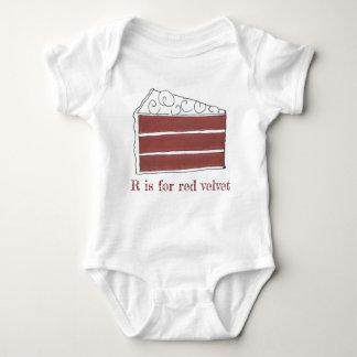 R is for Red Velvet Cake Slice Letter R Foodie Baby Bodysuit