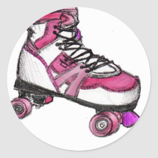 R is for Rollerskate Classic Round Sticker