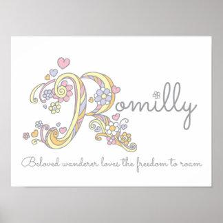 R monogram art Romilly girls name & meaning poster