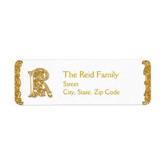 "R Monogram ""Irish Gold"" design Address Labels"