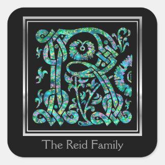 "R Monogram ""Masselle Blue"" design Envelope Seals Square Sticker"