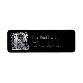 "R Monogram ""Silver Lace"" design Address Lables"