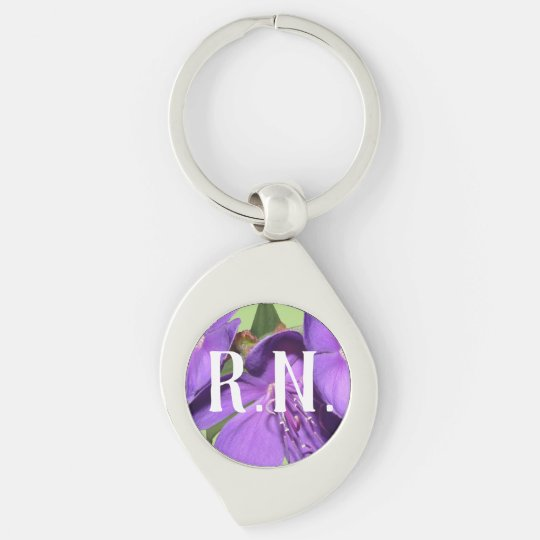 R.N. Purple Flower Silver keychain
