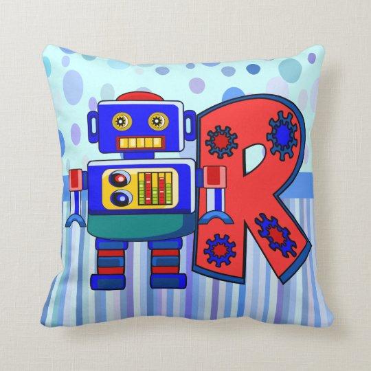 R robot name initial throw pillow