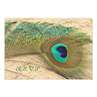 R S V P PEACOCK FEATHER MATCHING INVITATIONS
