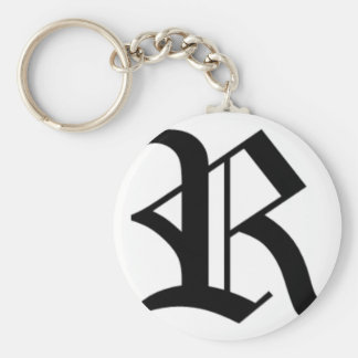 R-text Old English Basic Round Button Keychain