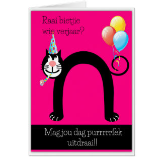Raai bietjie wie verjaar? card