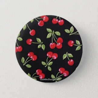 rab billy Rockabilly Red Cherries on Black  Gifts 2 Inch Round Button