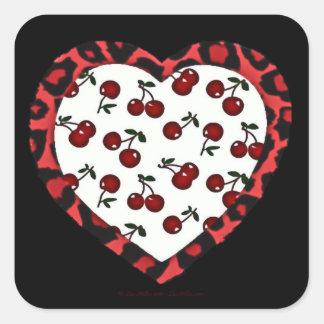 RAB cherries Leopard Print Heart Rockabilly Square Sticker