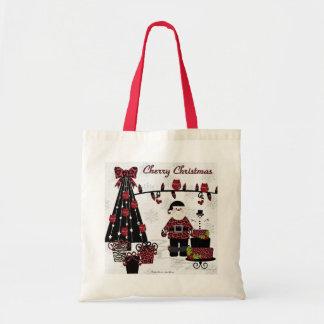 RAB Rockabilly Cherry Christmas Santa Gifts Tote Bag