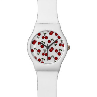 RAB Rockabilly Red Cherries White Designer Watch
