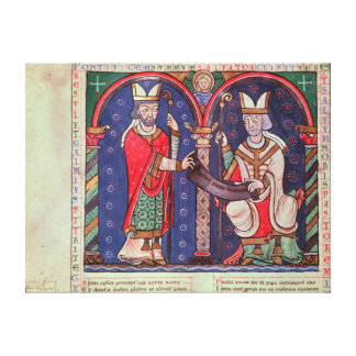 Rabanus Maurus offering his Book Canvas Print