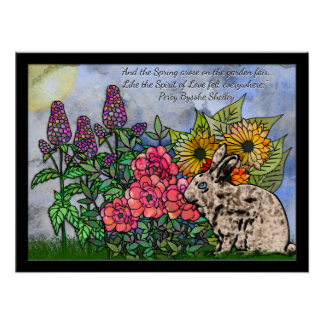 Rabbit Amid Spring Flowers - Percy Blysse Shelley Poster