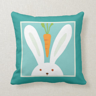 Rabbit and Carrot Throw Pillow