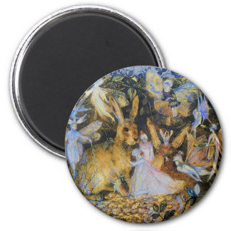 Rabbit and fairies vintage fairy tale art. 2 inch round magnet