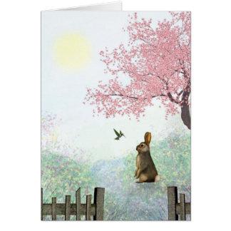 Rabbit and Hummingbird Greeting card