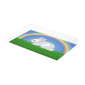 Rabbit and Rainbow Acrylic Tray