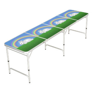 Rabbit and Rainbow Beer Pong Table