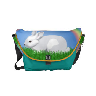 Rabbit and Rainbow Courier Bag