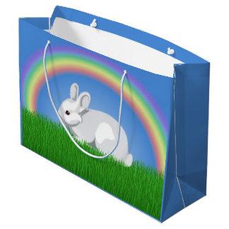 Rabbit and Rainbow Large Gift Bag