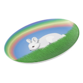Rabbit and Rainbow Porcelain Serving Platter