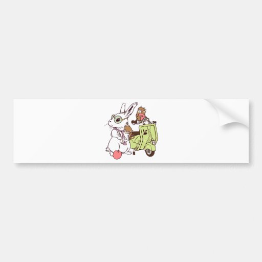 Rabbit and Vespa2 Bumper Sticker