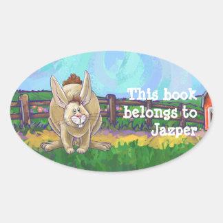 Rabbit Animal Parade writing stuff Oval Sticker