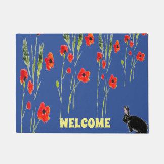 Rabbit Art and Red Poppies Doormat