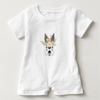 Rabbit Baby Romper Floral Art