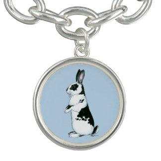 Rabbit:  Black and White Charm Bracelet