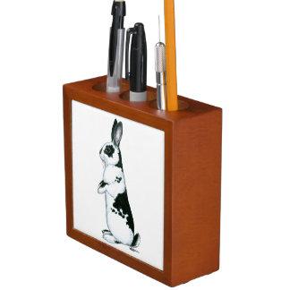 Rabbit:  Black and White Desk Organizer
