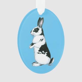 Rabbit:  Black and White Ornament