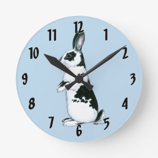 Rabbit:  Black and White Round Clock