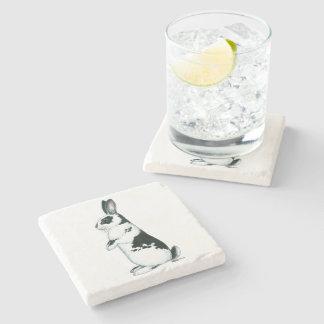 Rabbit:  Black and White Stone Coaster