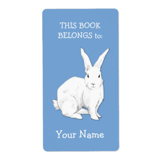Rabbit blue Bookplate Label Shipping Label
