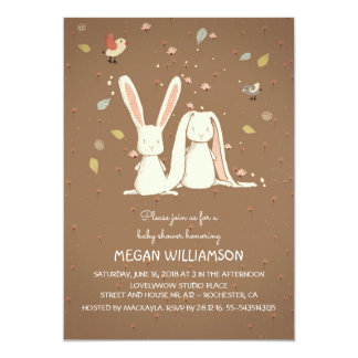 "rabbit bunnies couple woodland baby shower 5"" x 7"" invitation card"
