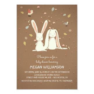 rabbit bunnies couple woodland baby shower card