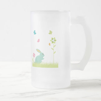Rabbit ~ Bunny and Flowers Customize Template Frosted Glass Beer Mug