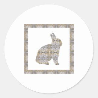 RABBIT Bunny CRYSTAL Jewel NVN454 KIDS LARGE  fun Classic Round Sticker