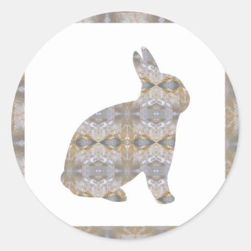RABBIT Bunny CRYSTAL Jewel NVN454 KIDS LARGE  fun Round Sticker