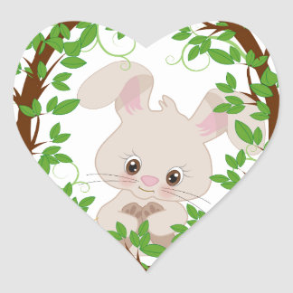 Rabbit , bunny, WOODLAND-CRITTERS Heart Sticker