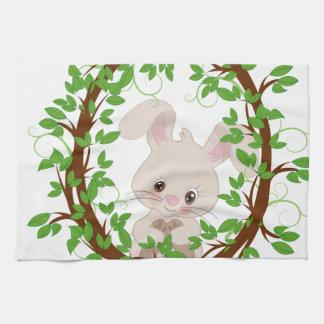 Rabbit , bunny, WOODLAND-CRITTERS Kitchen Towel