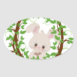 Rabbit , bunny, WOODLAND-CRITTERS Oval Sticker